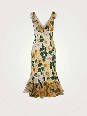 DOLCE & GABBANA Charmeuse Organza Midi Dress In Floral Print Women's Yellow