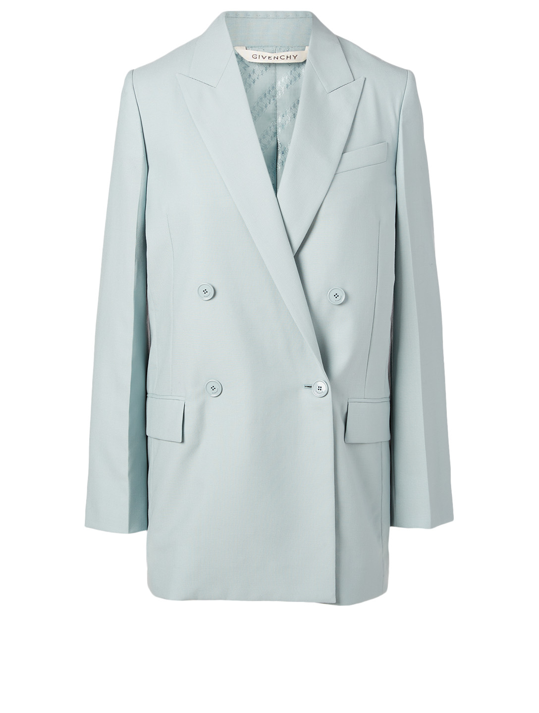 GIVENCHY Wool Oversized Double-Breasted Blazer Women's Blue