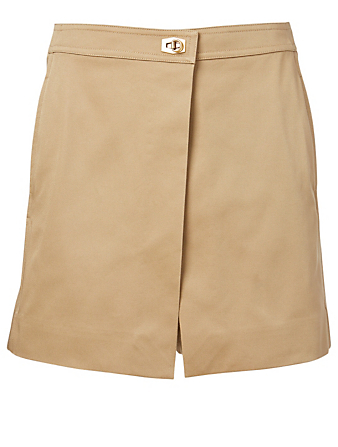GIVENCHY Cotton Wrap Shorts Women's Beige