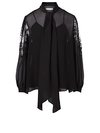 GIVENCHY Silk And Lace Blouse With Scarf Collar Women's Black