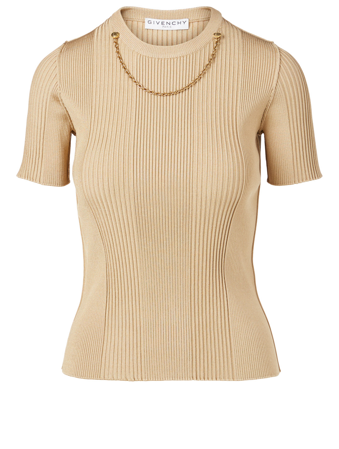 GIVENCHY Ribbed Knit Top With Chain Women's Beige