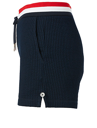 THOM BROWNE Cotton Seersucker Shorts With Striped Waistband Women's Blue