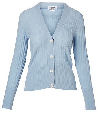 THOM BROWNE Wool Cable Knit Cardigan Women's Blue