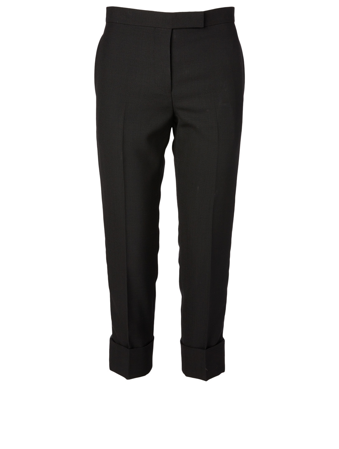 THOM BROWNE Wool Tuxedo Stripe Pants With Back Strap Women's Black