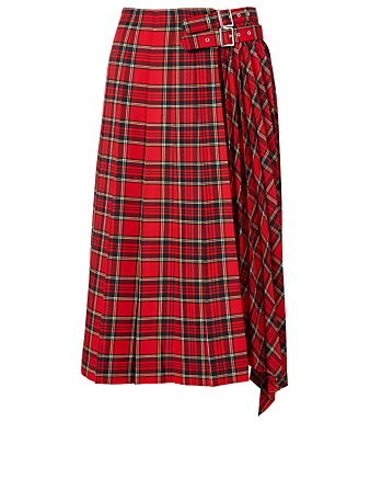 NOIR KEI NINOMIYA Wool-Blend Midi Skirt With Buckles Women's Red