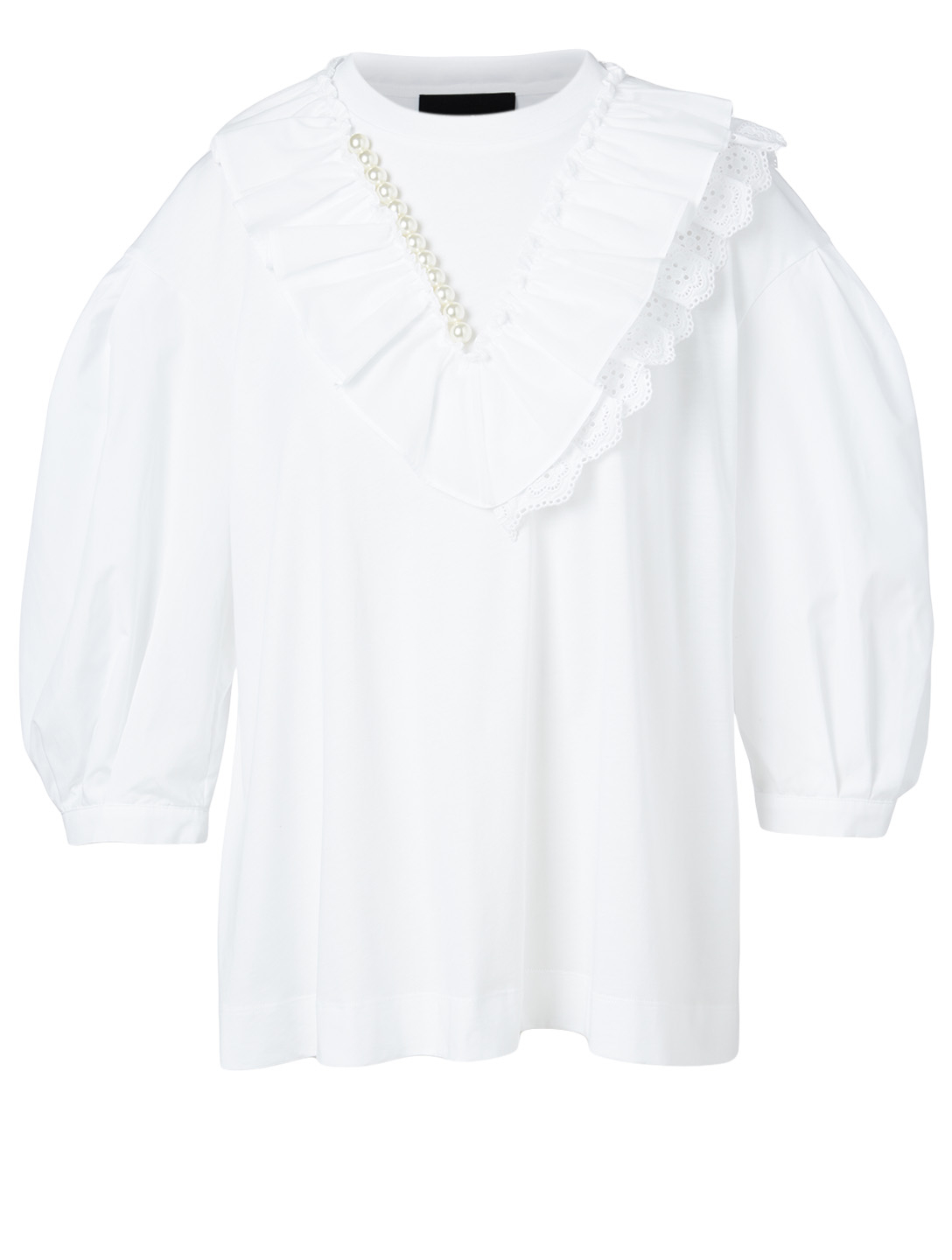 SIMONE ROCHA V-Frill Puff-Sleeve Top With Beading Women's White
