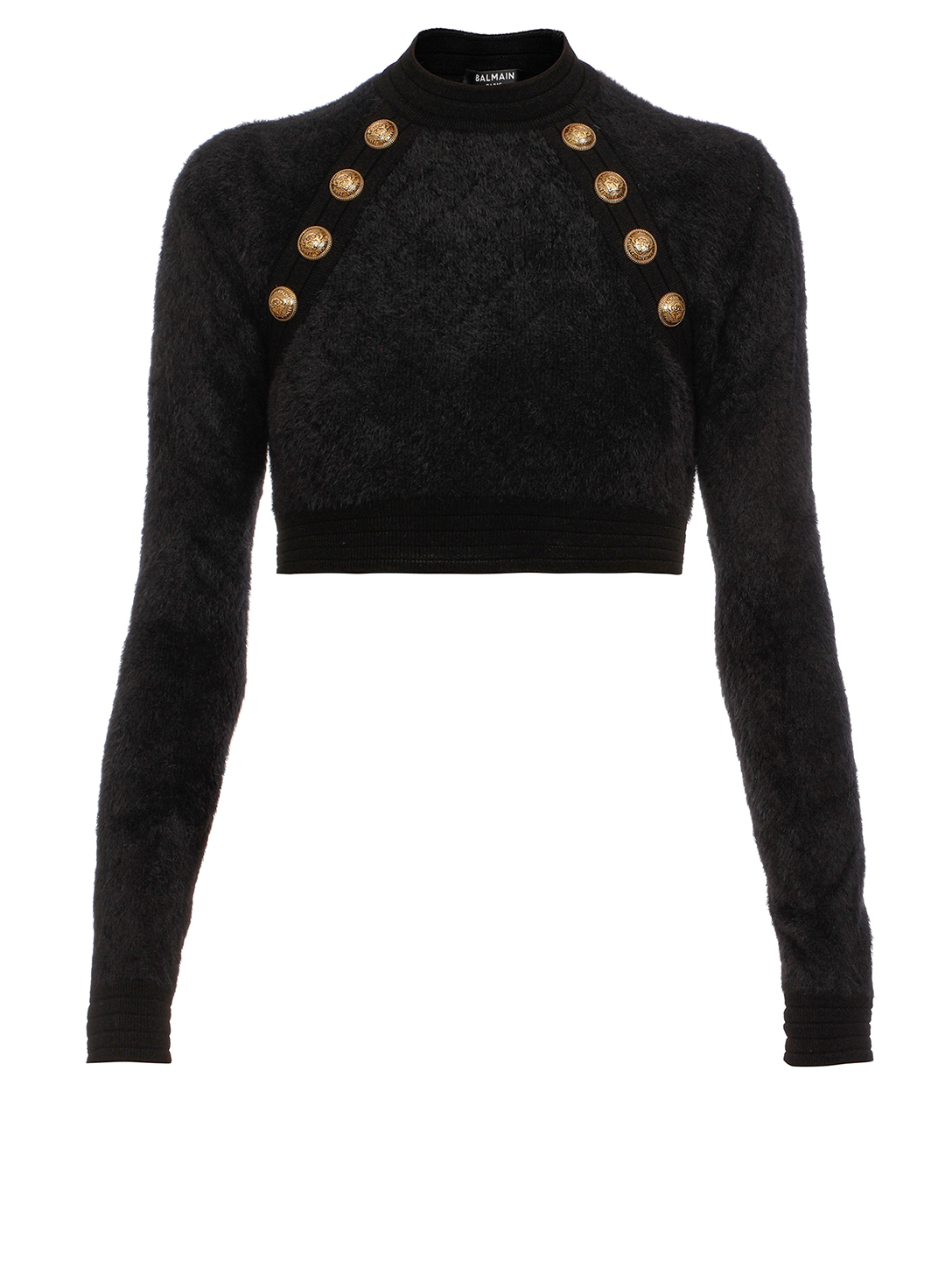 BALMAIN Fluffy Cropped Sweater Women's Black