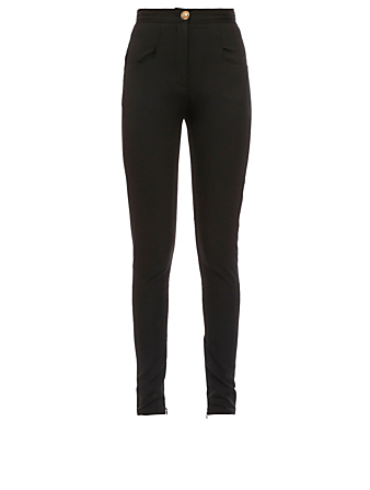 BALMAIN Wool Stretch High-Waisted Pants Women's Black