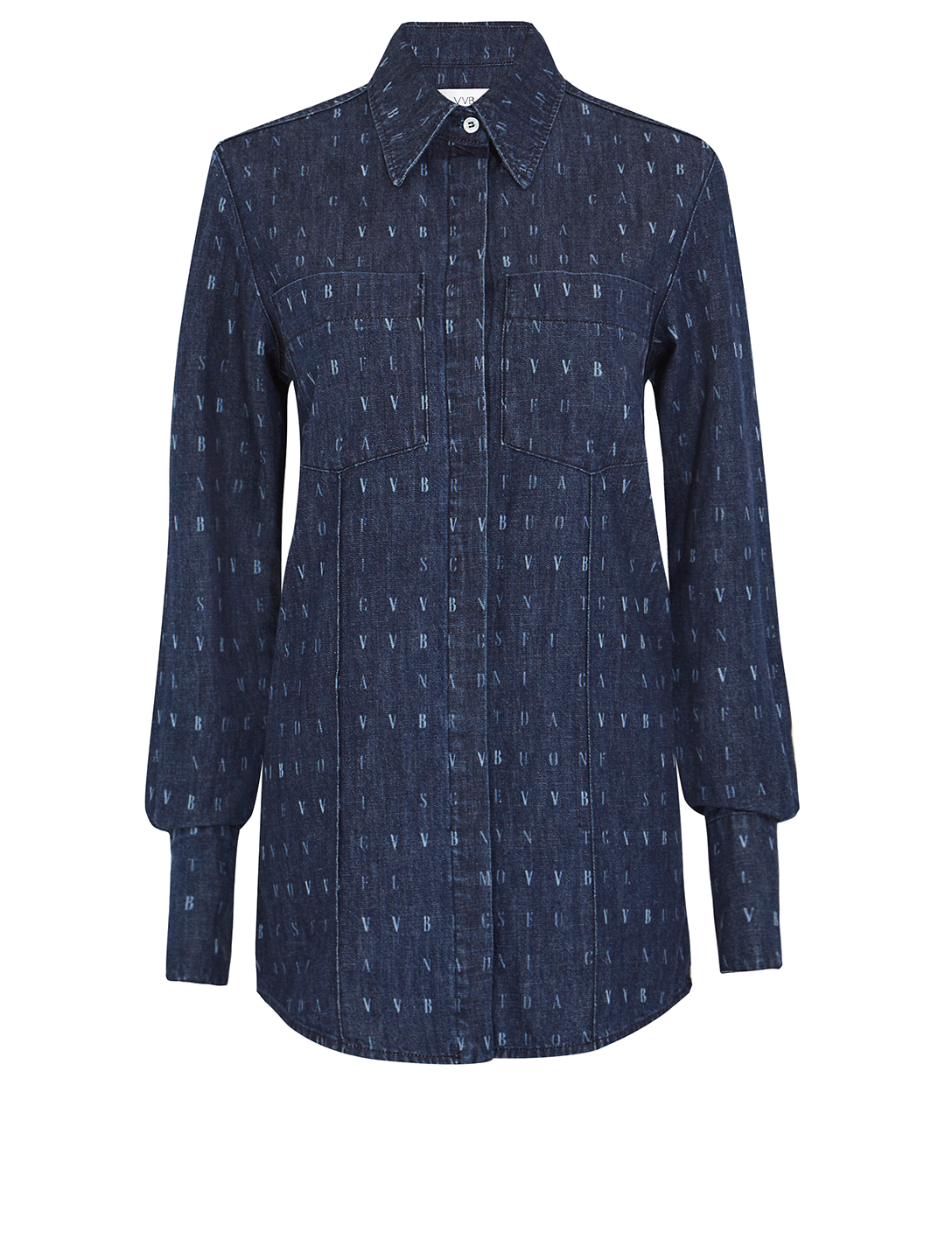 VICTORIA VICTORIA BECKHAM Cotton Denim Shirt In Word Search Print Women's Blue