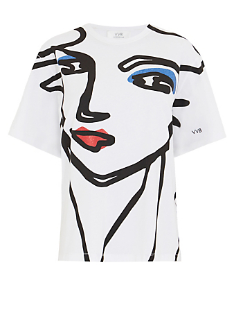 VICTORIA VICTORIA BECKHAM Beauty Face Cotton T-Shirt Women's White