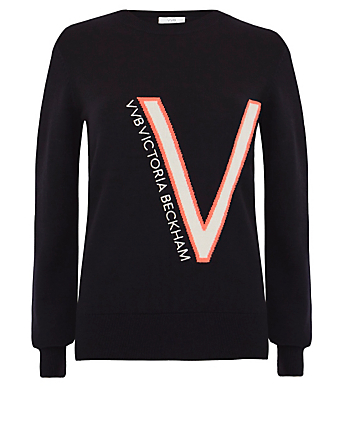 VICTORIA VICTORIA BECKHAM Wool Crewneck Sweater With Logo Women's Blue