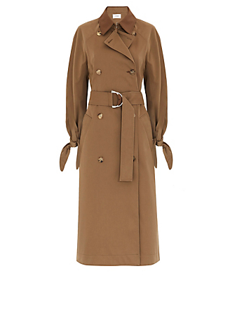 VICTORIA VICTORIA BECKHAM Double-Breasted Trench Coat With Tie-Sleeves Women's Beige