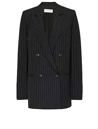 VICTORIA BECKHAM Wool Double-Breasted Blazer In Pinstripe Print Women's Blue