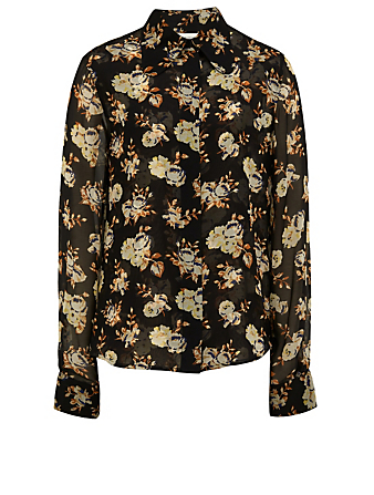 VICTORIA BECKHAM Silk Shirt In Floral Print Women's Blue