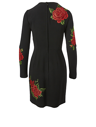 DOLCE & GABBANA Long-Sleeve Mini Dress With Rose Embroidery Women's Black