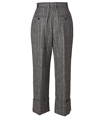 DOLCE & GABBANA Alpaca And Wool Pants In Pinstripe Print Women's Grey