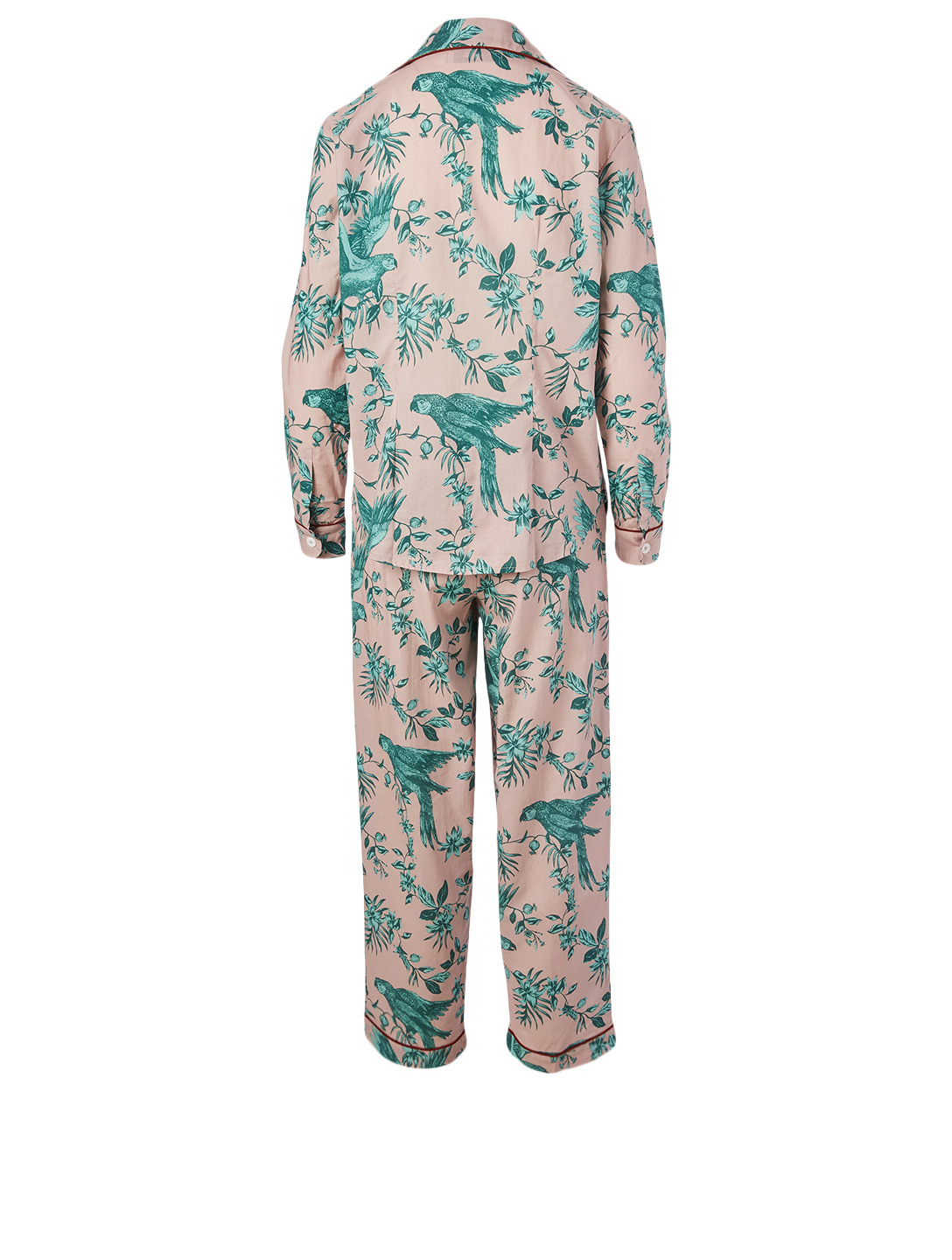 DESMOND & DEMPSEY Long Cotton Pyjama Set In Bromley Parrot Print H Project Pink