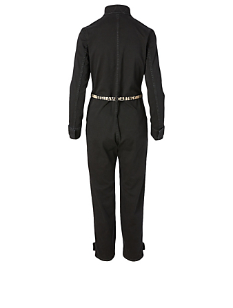 STELLA MCCARTNEY Denim Jumpsuit With Logo Belt Women's Black