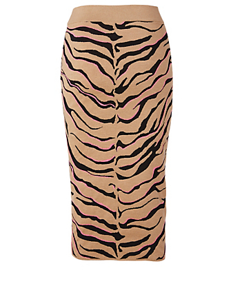 STELLA MCCARTNEY Wool-Blend Midi Skirt In Tiger Print Women's Multi