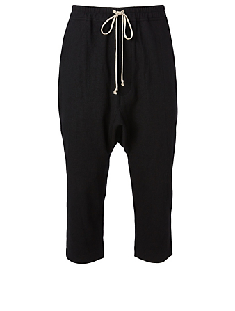 RICK OWENS Cotton And Wool Cropped Pants Men's Black