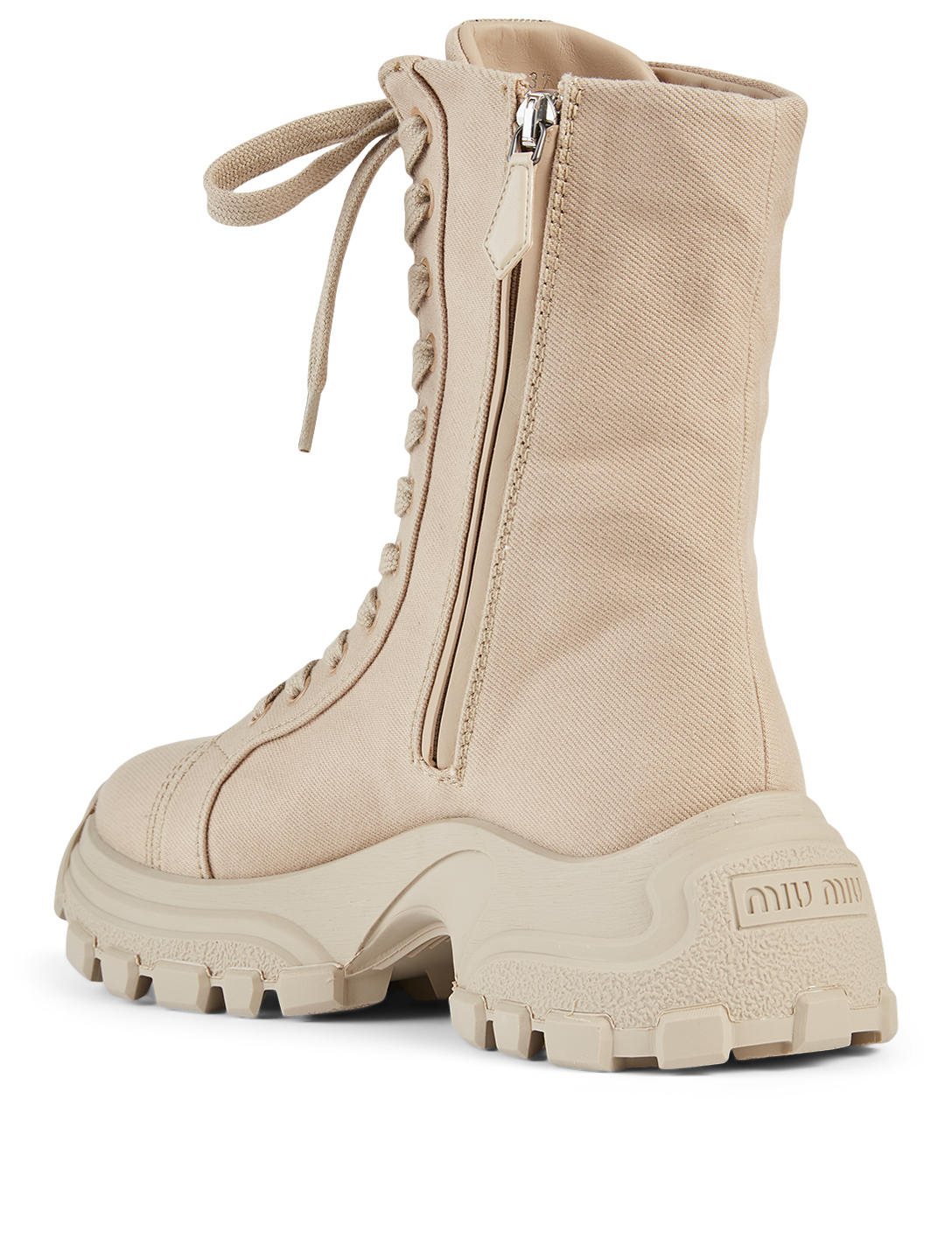 MIU MIU Canvas Combat Boots Women's Neutral