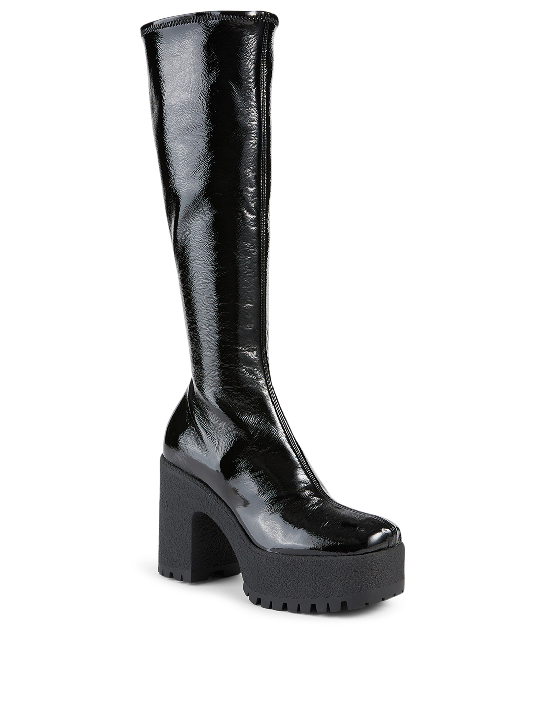 MIU MIU Patent Platform Knee-High Boots Women's Black