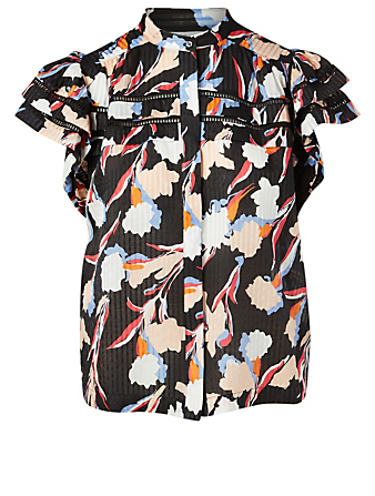 JOIE Huxlee Cotton And Silk Top In Floral Print Women's Black