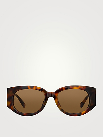 LINDA FARROW Debbie Oval Sunglasses Women's Brown