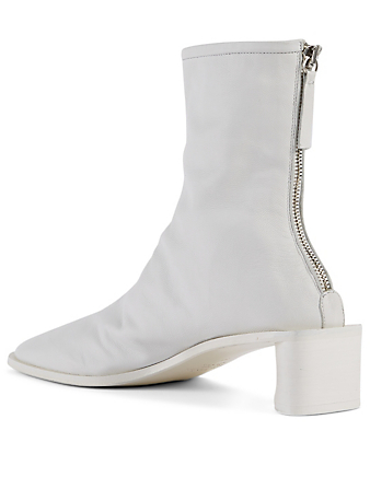 ACNE STUDIOS Leather Logo Heeled Ankle Boots Women's White