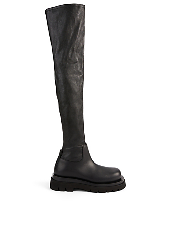 BOTTEGA VENETA The Tire Leather Over-The-Knee Boots Women's Black