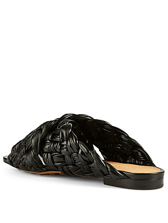 BOTTEGA VENETA The Board Leather Slide Sandals Women's Black