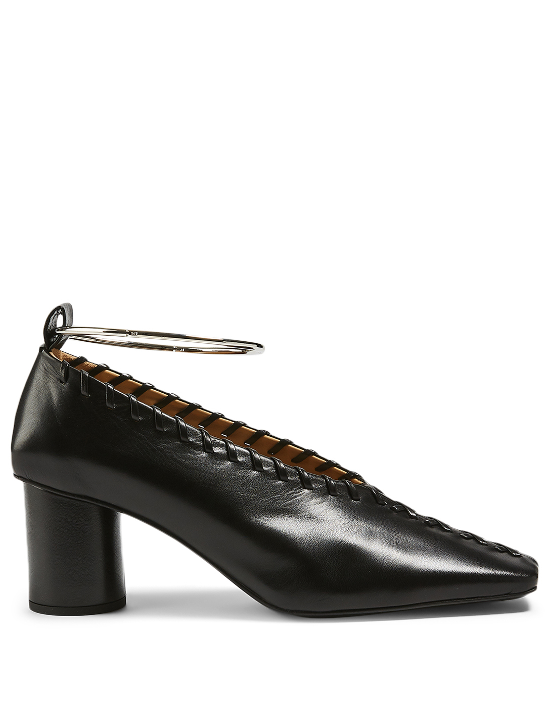 JIL SANDER Tripon Leather Pumps With Anklet Women's Black
