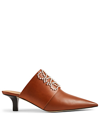 LOEWE Pointy Leather Mules With Pearl Anagram Women's Brown