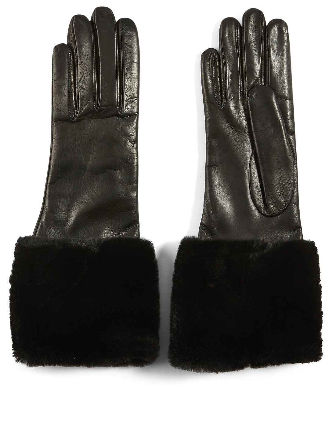 FLORIANA GLOVES Two-Button Leather Fur Cuff Gloves With Cashmere Lining Women's Black