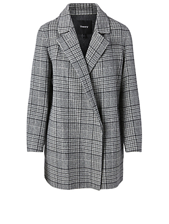 THEORY Wool And Cashmere Coat In Plaid Print Women's Grey