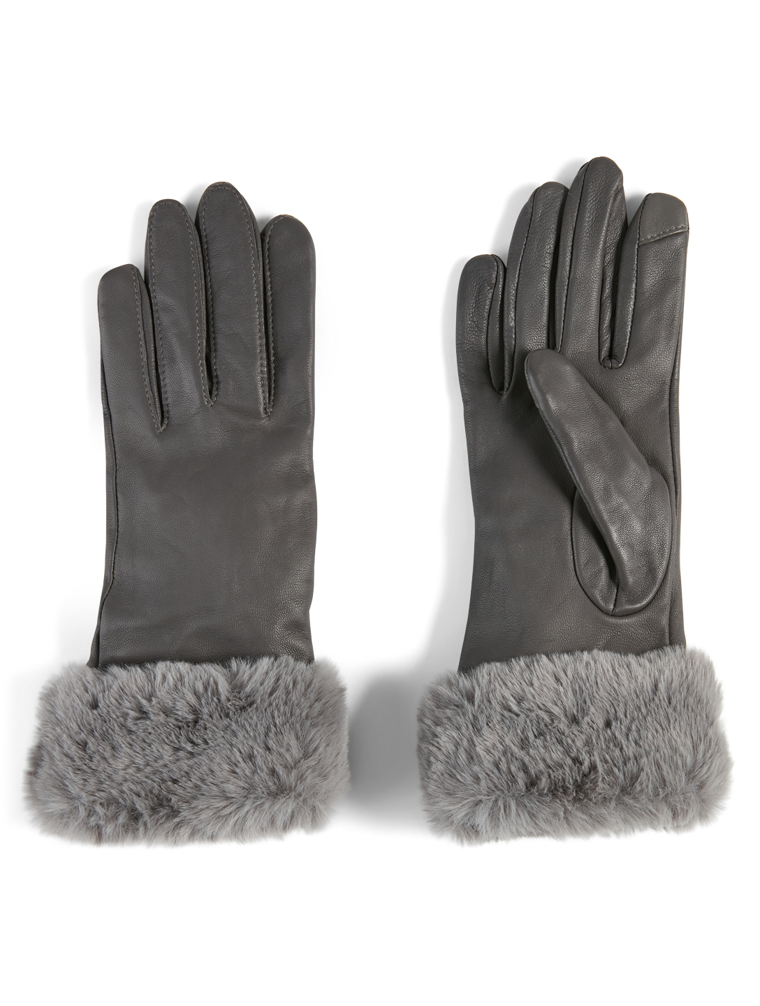 FOWNES BROTHERS & CO Leather Tech Gloves With Faux Fur Cuff Women's Grey