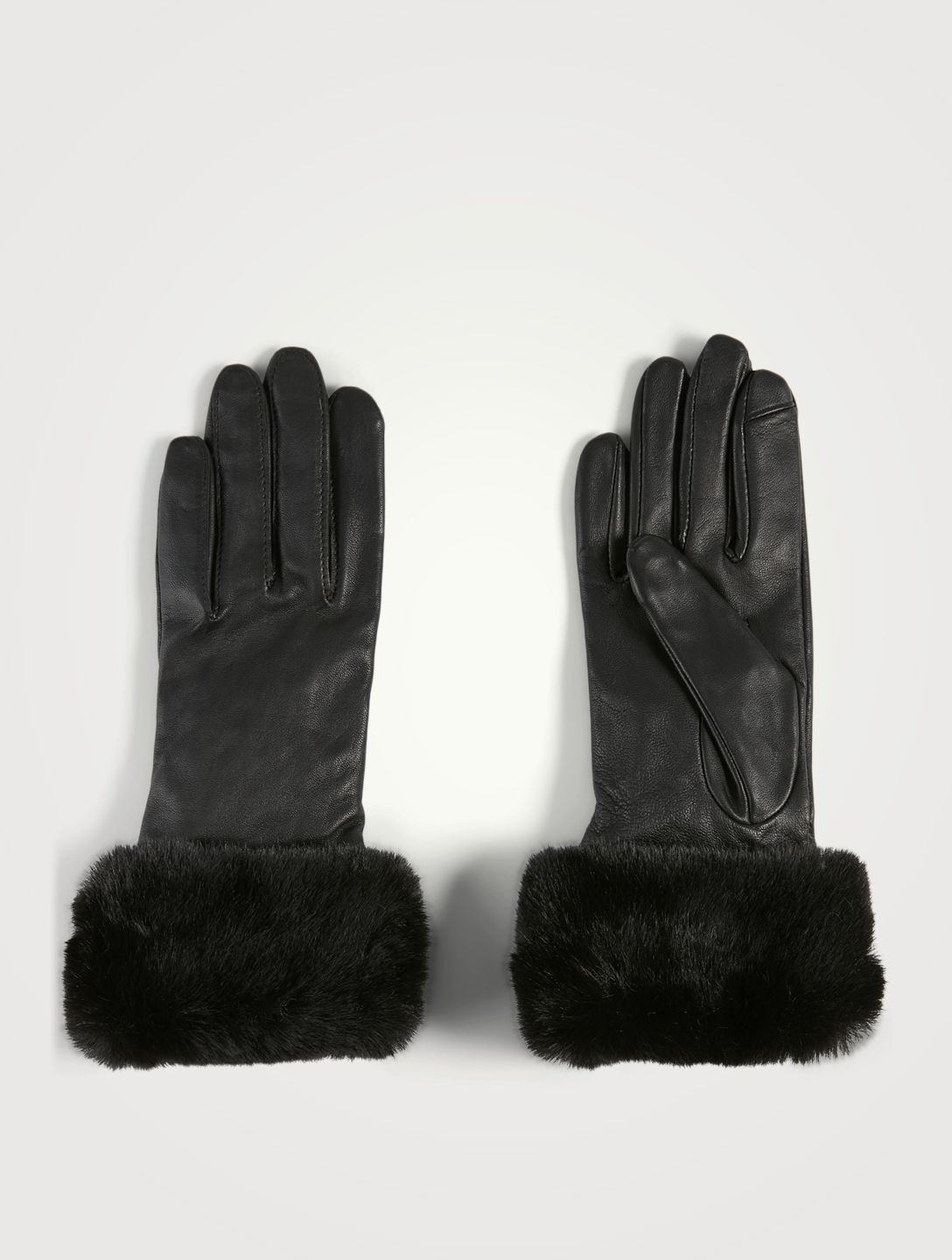 FOWNES BROTHERS & CO Leather Tech Gloves With Faux Fur Cuff Women's Black