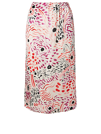MARNI Satin Midi Skirt In Fiery Vision Print Women's White