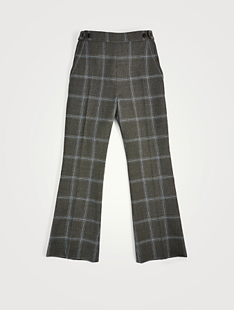 MARNI Wool Cropped Flare Pants In Check Print Women's Grey