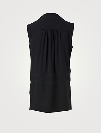 MARNI Sleeveless Tunic Blouse With Tie Neck Women's Blue