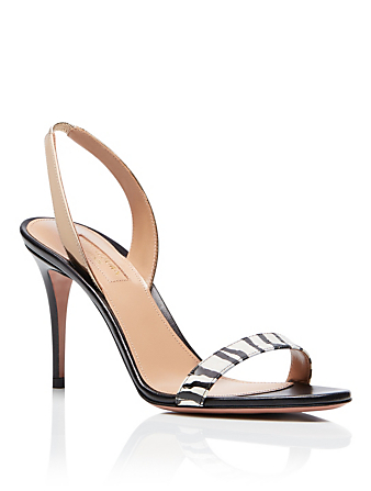 AQUAZZURA So Nude 85 Leather And Snakeskin Heeled Slingback Sandals In Zebra Print Women's Multi
