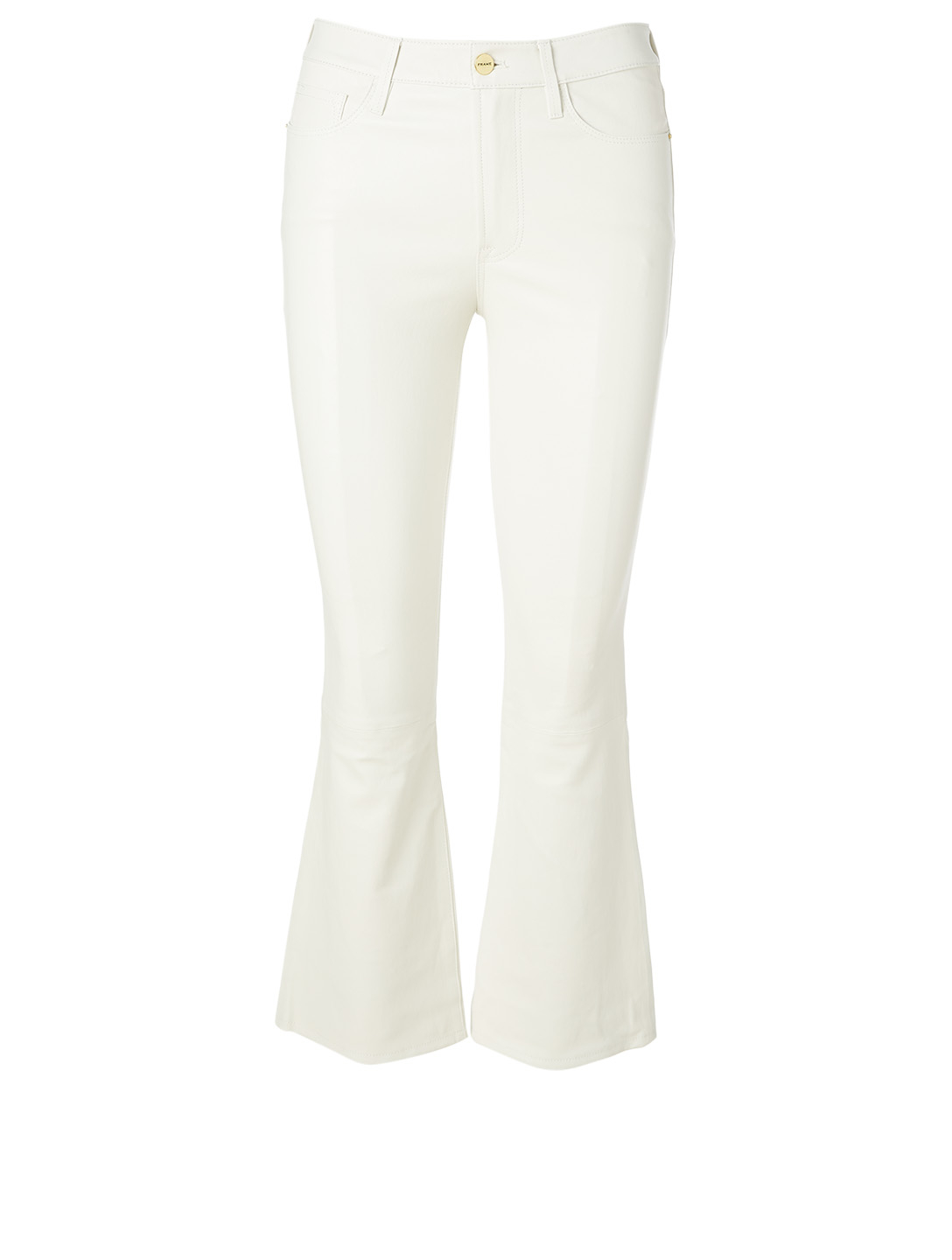FRAME Leather Le Crop Mini Bootcut Jeans Women's White