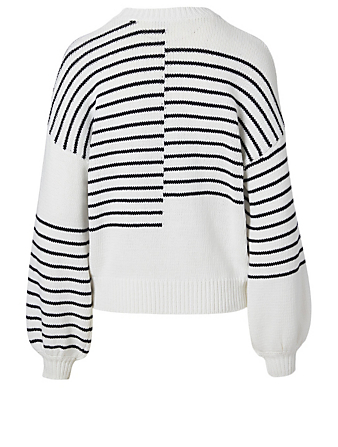 FRAME Cotton Sweater In Mixed Striped Print Women's White