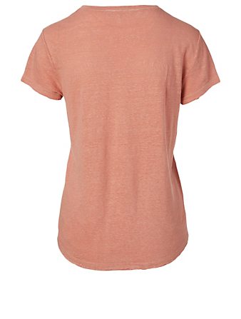 FRAME Tee-shirt Easy True en lin Femmes Marron