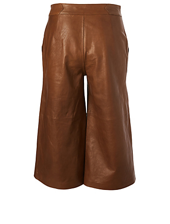 FRAME Leather High-Waisted Culottes Women's Brown
