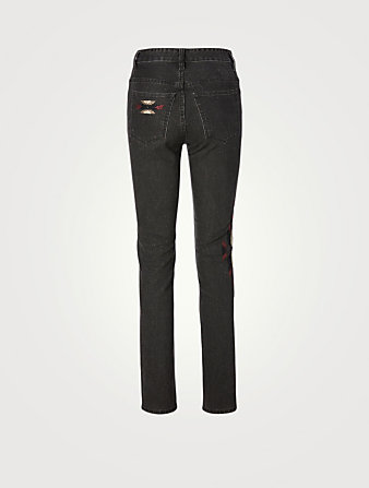 ISABEL MARANT ÉTOILE Biliana Slim-Fit Jeans With Embroidery Women's Black