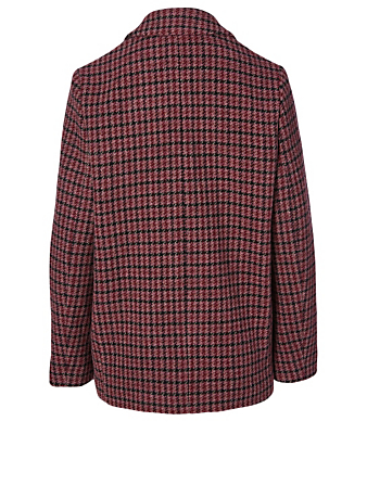 ISABEL MARANT ÉTOILE Charly Wool Jacket In Houndstooth Print Women's Red