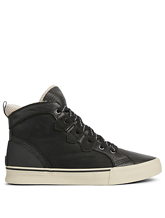 SOREL Caribou Leather High-Top Sneakers Men's Black