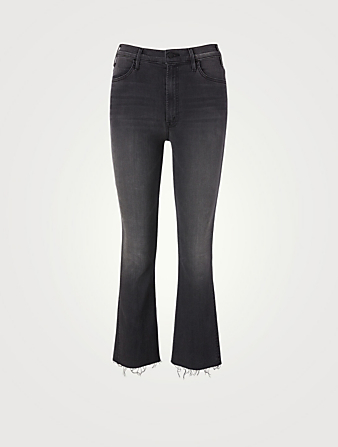 MOTHER The Hustler High-Waisted Jeans With Ankle Fray Women's Black