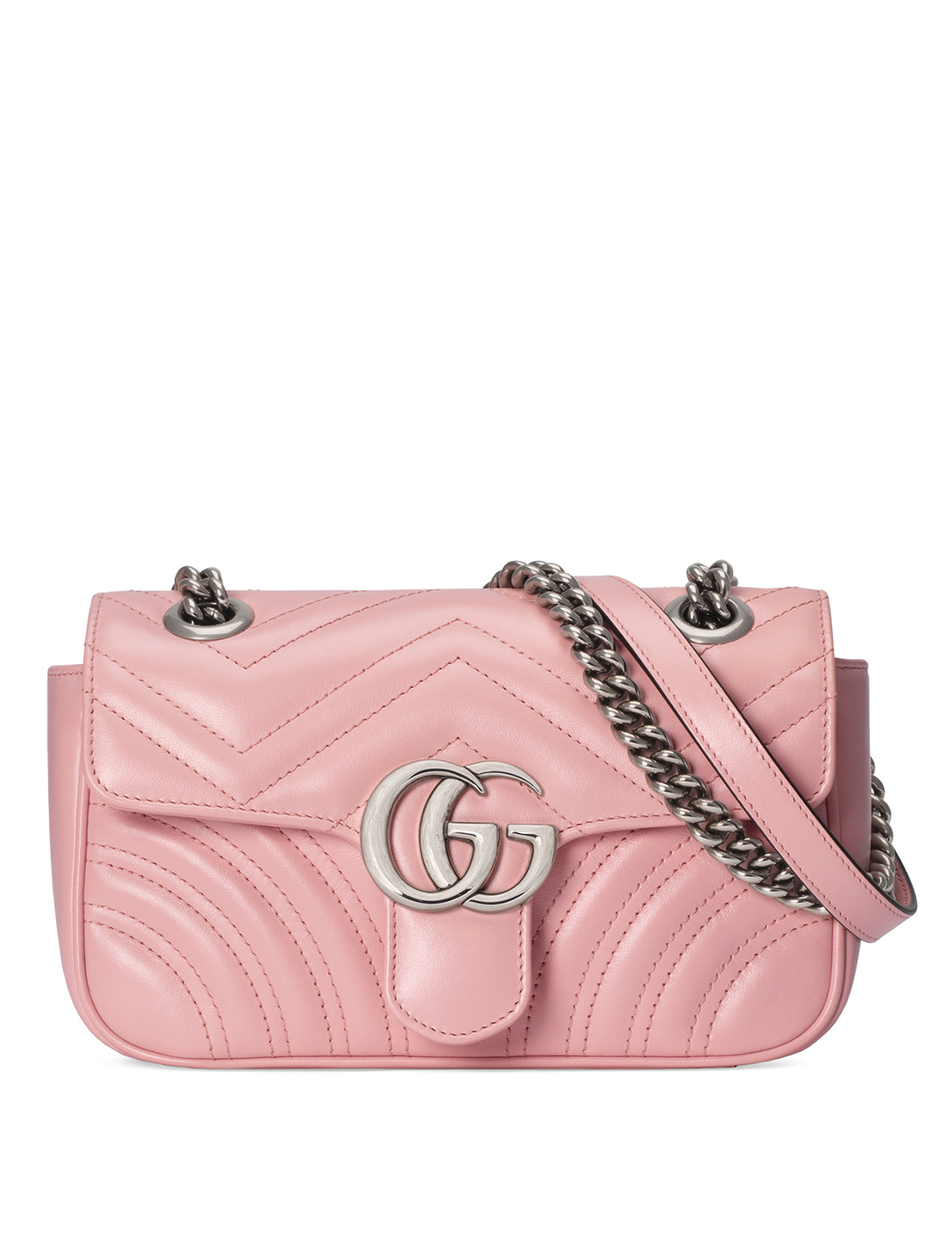 GUCCI Mini GG Marmont Leather Shoulder Bag Women's Pink